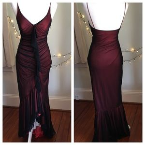 Cache Red Dress Black Mesh Overlay Ruching Gown